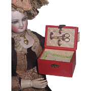 Sale! EXTREMELY RARE Authentic Antique French Fashion Doll Miniature Sewing Etui with Original Accessories!
