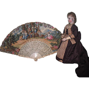 MAGNIFICENT Circa 1780 Antique English Hand Painted Decorative Lady's Fan for DOLL DISPLAY!