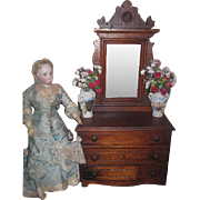 Magnificent Antique Miniature Victorian Eastlake Dresser for FASHION DOLLS!