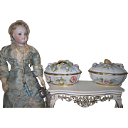 Two BEAUTIFUL Antique/Vintage Miniature Oval Capodimonte Porcelain Trinket Boxes!