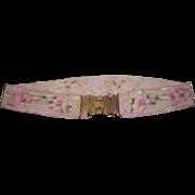 Circa 1889 Antique Victorian Hand Painted Floral Grosgrain Ribbon Lady's Belt!