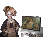 CHARMING Antique Spool's Cotton Miniature Lithographed Sewing Box with DOLL MOTIF~2 of 2!