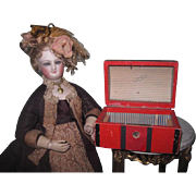 CHARMING Antique French Fashion Doll Miniature Red Humback Trunk!