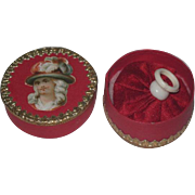 EXQUISITE Fancy French Miniature Powder Puff W/Presentation Box in CHRISTMAS RED!
