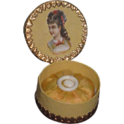 FABULOUS Fancy French Miniature Powder Puff W/Presentation Box in BUTTERCUP YELLOW!