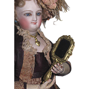 ELABORATE Rare Antique Miniature Fashion Doll Fancy Ormolu Hand Mirror!