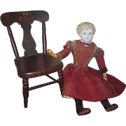 "EXCEPTIONAL 24 1/2"" All Original Antique German Alt, Beck & Gottschalk China Head Child Doll with Antique Painted Chair!"