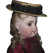 STYLISH Antique Rare Salesman Sample Miniature Italian Straw Boater's Hat for JUMEAU or CHARACTER BEBE!