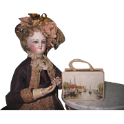 RARE Antique French Fashion Doll Miniature Valise Candy Container Box!