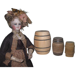 UNIQUE Set of 3 Vintage Quality Miniature Wooden Barrels for Doll Display!