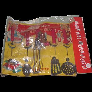 "Set of 5 Vintage Minature Red Wooden Handled ""Junior Miss"" Toy Kitchen Utensils in Original Package!"