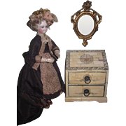 ELABORATE Ebony & Bone Inlaid Miniature Chest of Drawers for FASHION DOLL Display!