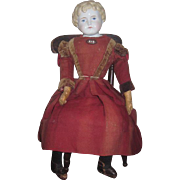 "SALE! Exceptional 24 1/2"" All Original Antique German Alt, Beck & Gottschalk China Head Child Doll with Antique Painted Chair!"