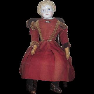 "SALE! Exceptional 24 1/2"" All Original Antique German Alt, Beck & Gottschalk China Head Child Doll with Antique Painted Chair!"