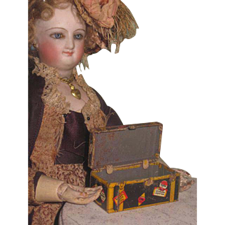 TINY Vintage Marx Tin Lithograph Miniature Toy Trunk for DOLL DISPLAY!