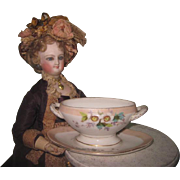 BEAUTIFUL Antique Miniature Porcelain Tureen for Doll Display!