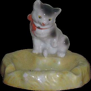 ADORABLE Vintage Painted Porcelain Kitten Dish!