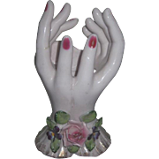 RARE Vintage Hand Painted Lefton Miniature Bud Vase Lady's DOUBLE HANDS! - Red Tag Sale Item