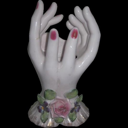 RARE Vintage Hand Painted Lefton Miniature Bud Vase Lady's DOUBLE HANDS!
