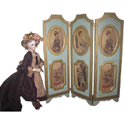 MAGNIFICENT Vintage French Fashion Doll Wooden Folding Screen with Miniature CAMEO PORTRAITS!