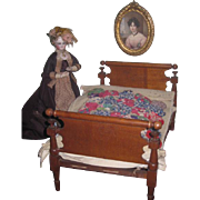 SALE! Quality Fully Appointed Antique Miniature Four Poster Rope Bed for FASHION DOLLS!