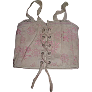 EXQUISITE Antique French Pink Floral Brocade Doll Corset for BRU or JUMEAU BEBE!