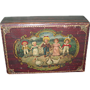 ENCHANTING Original Antique Lithograph Miniature Wooden Display Box with KATE GREENAWAY Children!