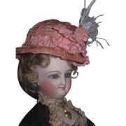 EXQUISITE Rare Antique French Fashion Doll Pink Silk Helmet Hat!
