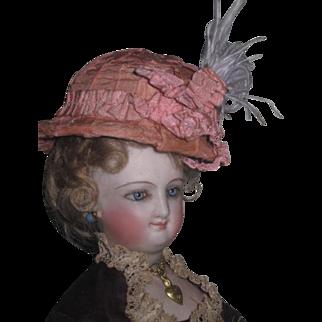 EXQUISITE Rare Antique French Fashion Doll Pink Silk Helmet Hat!