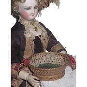 SUPERB Antique Victorian Miniature Woven Basket Pin Cushion Sewing Etui for FASHION DOLLS!