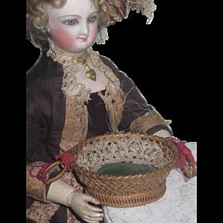 SUPERB Antique Victorian Miniature Woven Basket Pin Cushion Sewing Etui for FASHION DOLLS!