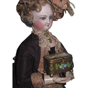 TINY Rare Antique Miniature Enameled Brass French Fashion Doll Trinket Box!