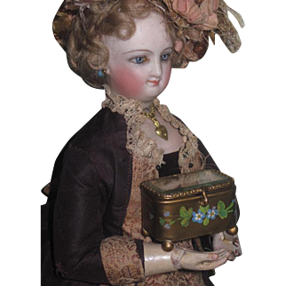 TINY Rare Antique Miniature Enameled Brass French Fashion Doll Trinket Box!