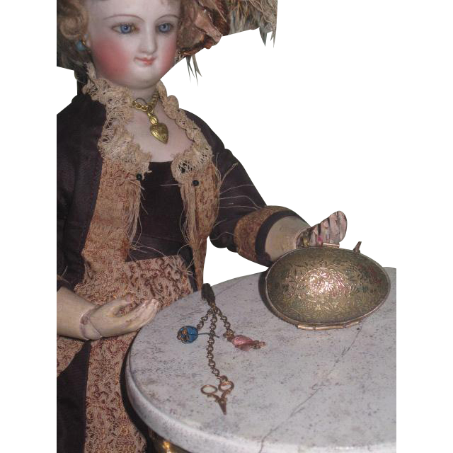 RARE and TINY Antique Miniature French Fashion Doll Sewing Chatelaine with Original Enameled Brass Egg Purse Etui!
