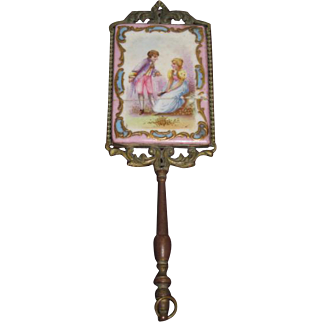 MAGNIFICENT Antique French Miniature Hand Painted Portrait Bronze Chatelaine Hand Mirror~As Found!