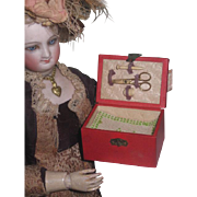 REDUCED! Extremely Rare Authentic Antique French Fashion Doll Miniature Sewing Etui with Original Accessories!