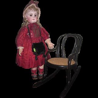 SUPERB Antique Miniature Bentwood Caned Chair Rocker!