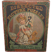 RARE Antique Victorian McLoughlin Brothers Lithograph Toy Puzzles in Original Presentation Box!
