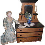 RARE Antique Miniature Two-Toned Victorian Eastlake Doll Dresser!