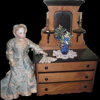 RARE Antique Miniature Two-Toned Victorian Eastlake Doll Dresser!