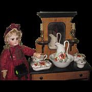 EXQUISITE Rare Antique French Hand Painted Miniature Porcelain 6 Piece Doll Toilette Set~COMPLETE!
