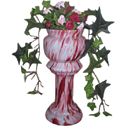 DRAMATIC Rare Antique Miniature Art Glass Pedestal Urn for FASHION DOLLS!