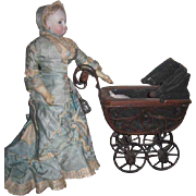 CHARMING Vintage HTF Smaller Fashion Doll Scale Miniature Wicker Doll Carriage!