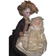 """SWEET Vintage Artist 5"""" All Bisque Bent Leg Baby Doll in FANCY Gown!"""