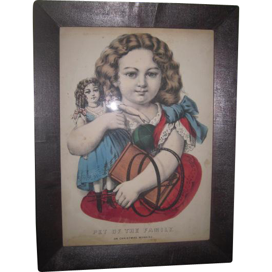 "RARE Antique Victorian Framed Lithograph Print ""Pet of the Family"" With DOLL & TOYS Motif!"