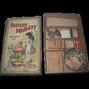 "RARE Charming Antique Parker Brothers ""SUNNY MONDAY"" Toy Miniature Wash Set w/Original Presentation Box!"