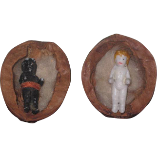 "HARD TO FIND Pair of Antique 1"" Black & White Frozen Charlotte Dolls in Original Walnut Shell Beds!"