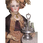 RARE Fashion Doll Scale Antique German Miniature Toy Pewter & Hand Blown Glass Castor/Cruet Set!