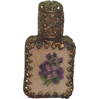 EXQUISITE Tiny Vintage Miniature Petit Point Scent/Perfume Bottle for FASHION DOLL Display!