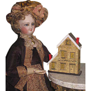 TINY Charming Vintage Miniature Lithographed Wooden DOLL'S DOLLHOUSE!